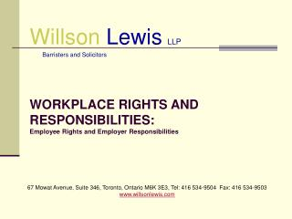 Willson Lewis LLP       Barristers and Solicitors
