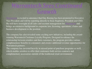 Warrantech Sees Continued Growth