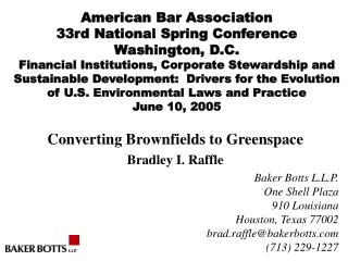 American Bar Association 33rd National Spring Conference Washington, D.C.  Financial Institutions, Corporate Stewardship