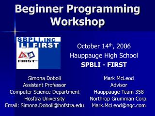 Beginner Programming  Workshop