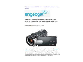 Samsung WiFi SSD camcorder shipping in Korea