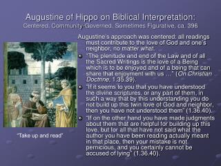Augustine of Hippo on Biblical Interpretation: Centered, Community-Governed, Sometimes Figurative, ca. 396