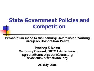 State Government Policies and Competition