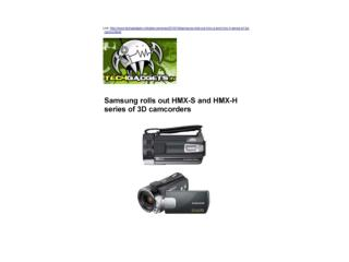 Samsung rolls out HMX-S and HMX-H series of 3D camcorders