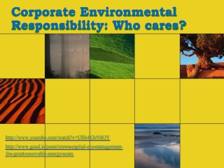 Corporate Environmental Responsibility: Who cares?