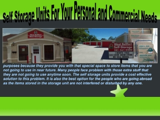 Mini Storage Units For Your Personal and Commercial Needs