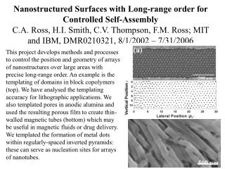 Nanostructured Surfaces with Long-range order for Controlled Self-Assembly C.A. Ross, H.I. Smith, C.V. Thompson, F.M. Ro