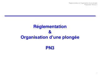 R glementation   Organisation d une plong e   PN3