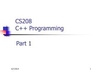 CS208  C Programming
