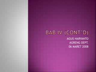 BAB IV CONT D