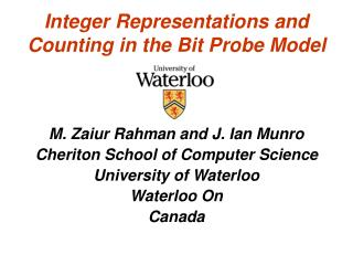 Integer Representations and Counting in the Bit Probe Model