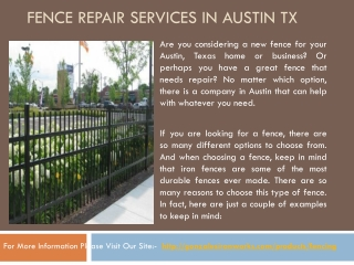 Fence repair services in Austin TX