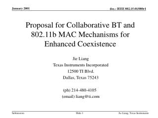 Proposal for Collaborative BT and 802.11b MAC Mechanisms for Enhanced Coexistence