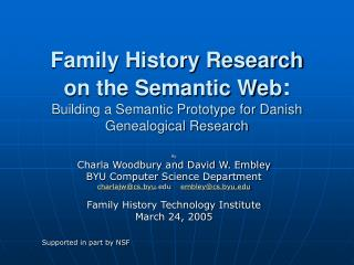 Family History Research  on the Semantic Web:  Building a Semantic Prototype for Danish Genealogical Research