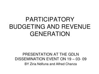 PARTICIPATORY BUDGETING AND REVENUE GENERATION