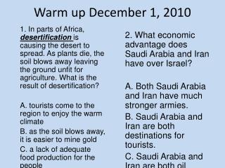 Warm up December 1, 2010