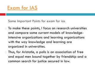 All about  Exam for IAS.