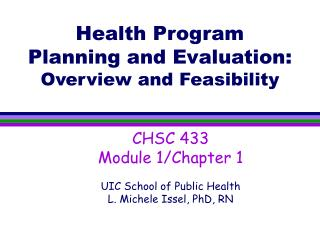 Health Program Planning and Evaluation: Overview and Feasibility