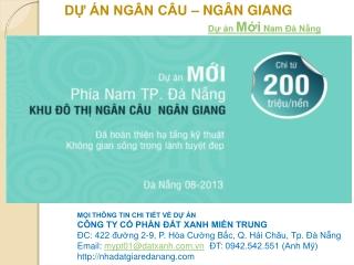 Dự án Ngân Câu Ngân Giang dự án  mới Nam Đà Nẵng