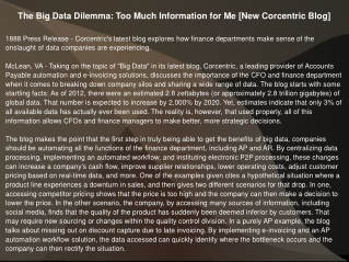 The Big Data Dilemma: Too Much Information for Me [New Corce