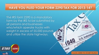 File Your Form 2290 Today With Etax2290