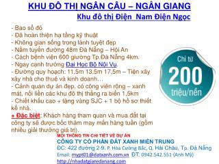 Khu đô thi Ngân Câu Ngân Giang khu đô thị Điện Nam Điện Ngọc
