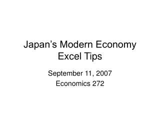 Japan s Modern Economy Excel Tips