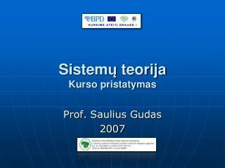 Sistemu teorija Kurso pristatymas