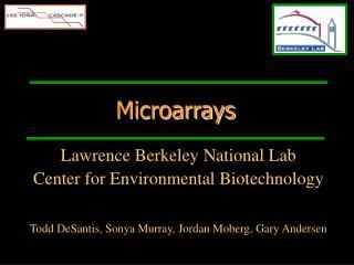 Lawrence Berkeley National Lab Center for Environmental Biotechnology  Todd DeSantis, Sonya Murray, Jordan Moberg, Gary