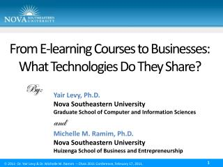 From E-learning Courses to Businesses:  What Technologies Do They Share