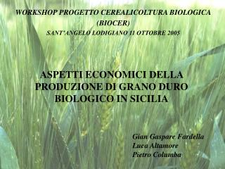 ASPETTI ECONOMICI DELLA PRODUZIONE DI GRANO DURO BIOLOGICO IN SICILIA