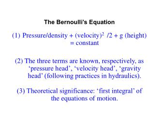The Bernoulli s Equation