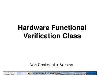Hardware Functional Verification Class