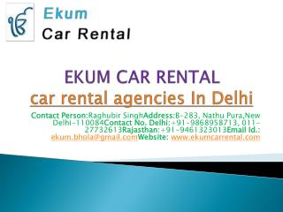 car rental agencies In Delhi