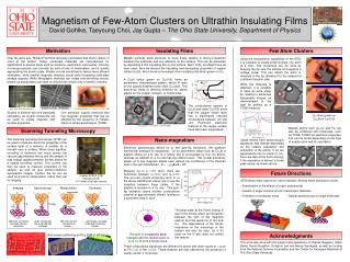 Magnetism of Few-Atom Clusters on Ultrathin Insulating Films David Gohlke, Taeyoung Choi, Jay Gupta   The Ohio State Uni