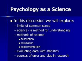 Psychology as a Science