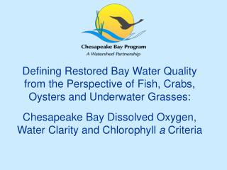 Defining Restored Bay Water Quality from the Perspective of Fish, Crabs, Oysters and Underwater Grasses:  Chesapeake Bay