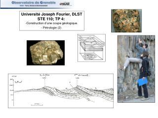 Universit  Joseph Fourier, DLST STE 110; TP 4:  Construction d une coupe g ologique. - P trologie 2