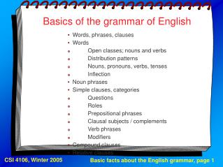Basics of the grammar of English