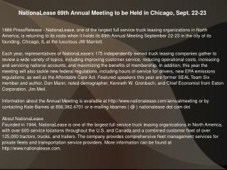 NationaLease 69th Annual Meeting to be Held in Chicago, Sept