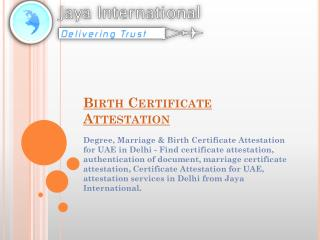 Birth Certificate Attestation