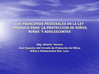 LOS PRINCIPIOS PROCESALES EN LA LEY ORGANICA PARA  LA PROTECCION DE NI OS, NI AS  Y ADOLESCENTES