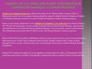 Knights of Columbus Insurance Contributed in Dartmouth Bi-An