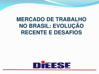 MERCADO DE TRABALHO  NO BRASIL: EVOLU  O RECENTE E DESAFIOS