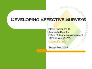 Developing Effective Surveys
