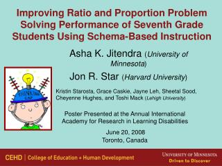 Improving Ratio and Proportion Problem Solving Performance of Seventh Grade Students Using Schema-Based Instruction