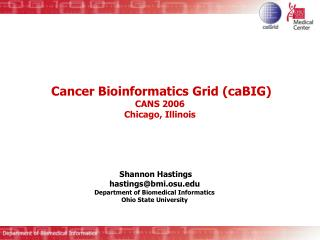 Cancer Bioinformatics Grid caBIG  CANS 2006 Chicago, Illinois