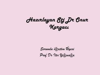 Hazirlayan Stj Dr Onur Kargaci   Sorumlu  gretim  yesi  Prof Dr Itir Yegenaga