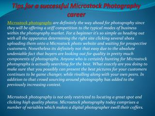 Tips for a successful Microstock Photography career