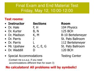 Final exam format .